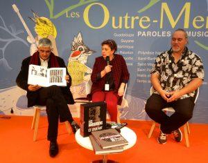 Christian Robert, Véronique Mu-Liepmann et Pascal Erhel lors du lancement du coffret réédité de Karl von den Steinen, Les marquisiens et leur art